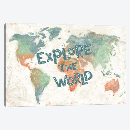 Explore the World I 3-Piece Canvas #VCH63} by Veronique Charron Canvas Print