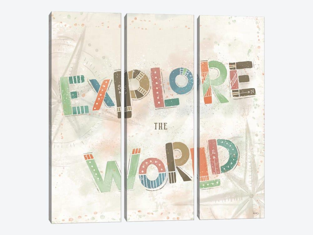 Explore the World IV by Veronique Charron 3-piece Canvas Wall Art