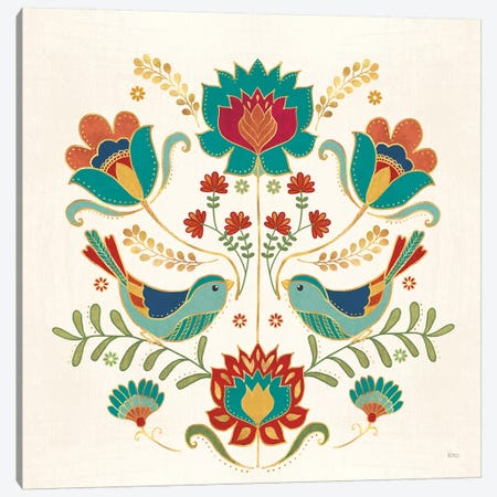 Folk Floral III v2 Canvas Print #VCH69} by Veronique Charron Art Print