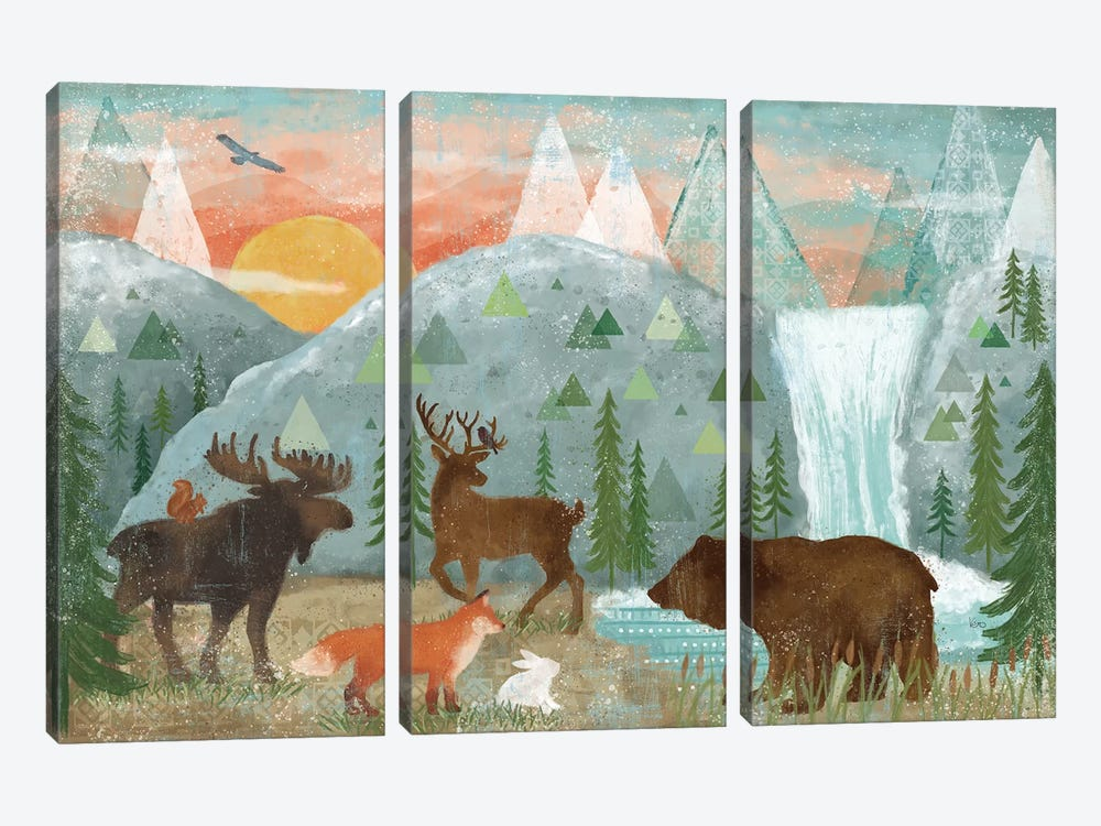 Woodland Forest I by Veronique Charron 3-piece Canvas Wall Art
