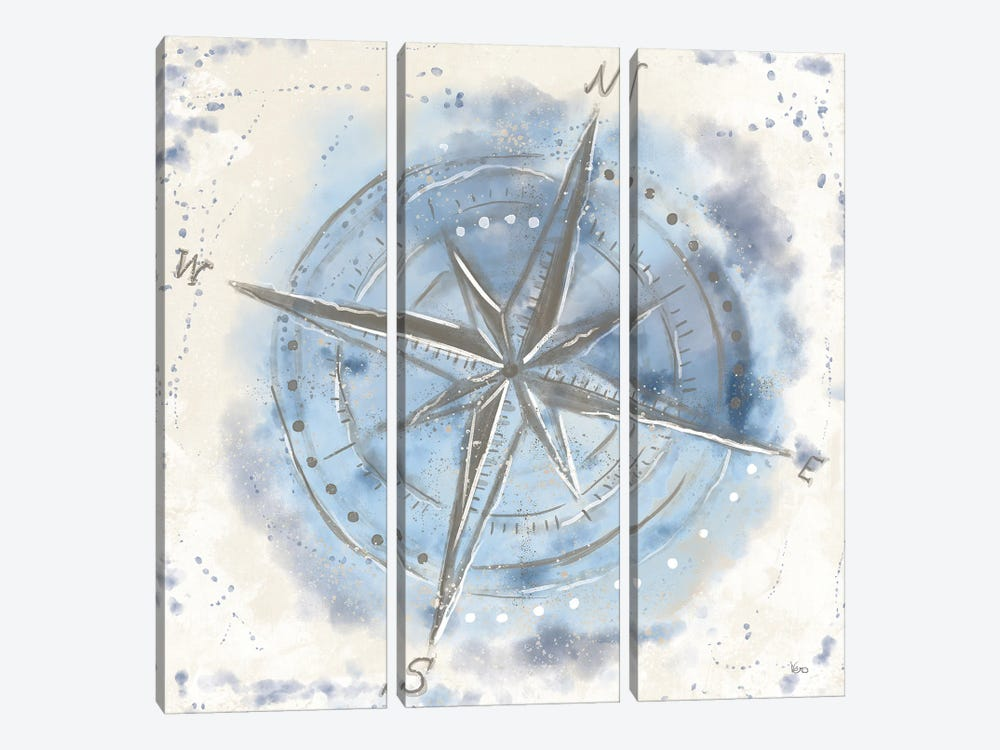 Explore the World III Blue Brown by Veronique Charron 3-piece Canvas Print