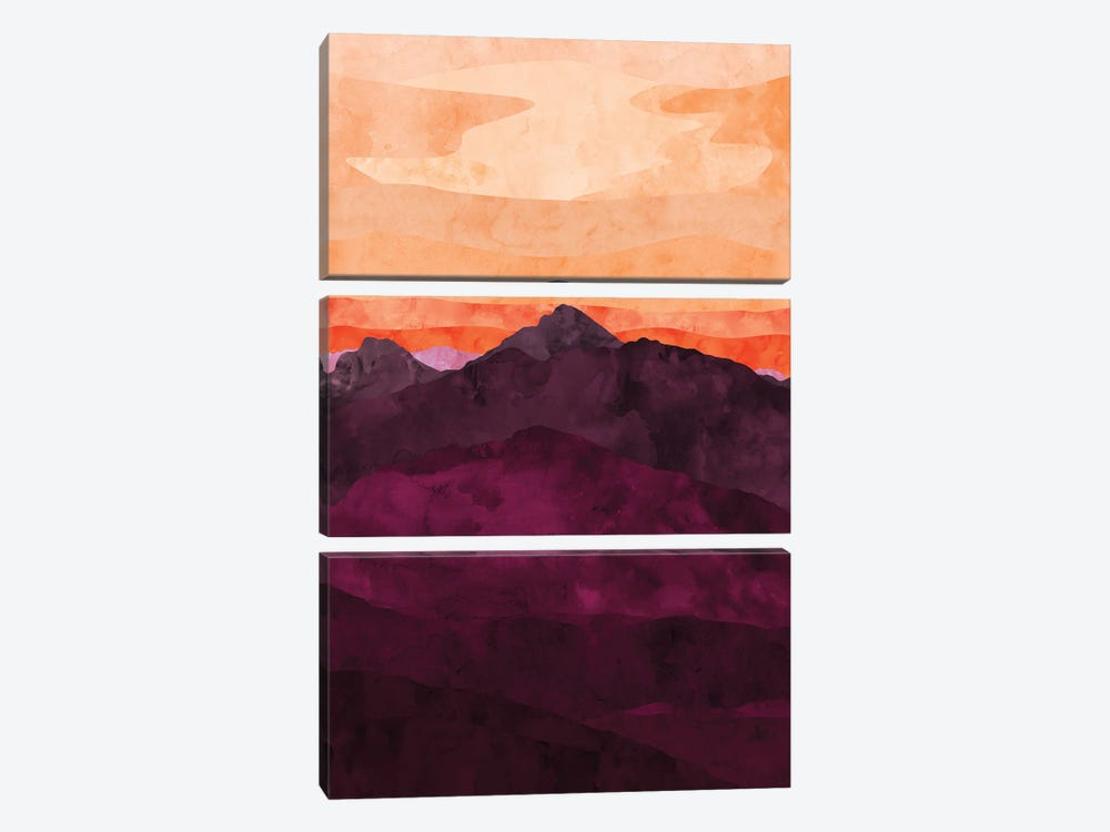 Purple Mountain at Sunset by Van Credi 3-piece Canvas Artwork