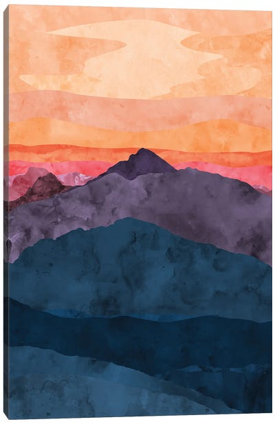 Purple and Blue Mountain at Sunset Canvas Art Print