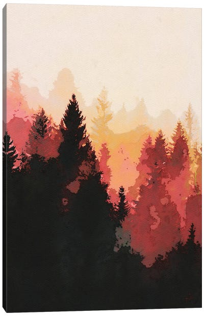 Red Forest Landscape Canvas Art Print