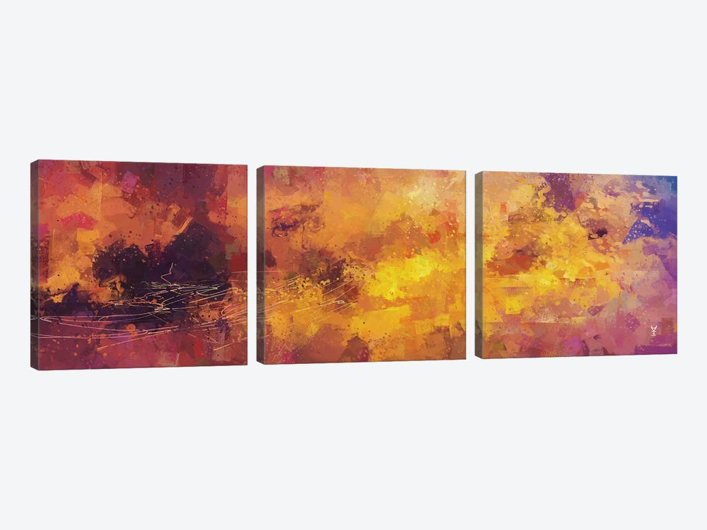 Red and Yellow Abstract by Van Credi 3-piece Art Print