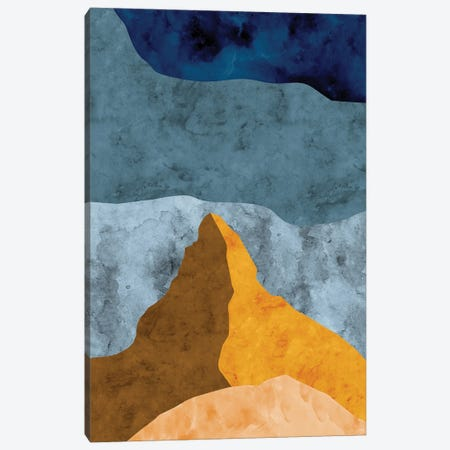 Mountain Against Waves of Blue Canvas Print #VCR6} by Van Credi Canvas Art Print