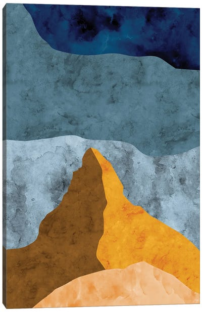 Mountain Against Waves of Blue Canvas Art Print