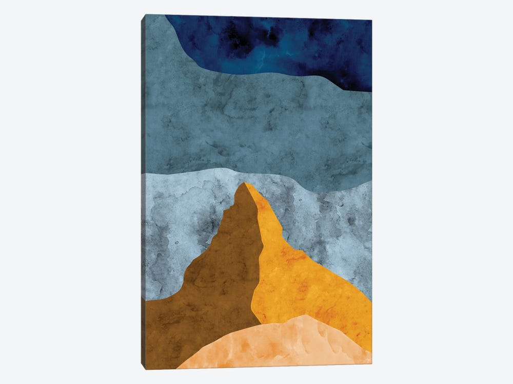 Mountain Against Waves of Blue by Van Credi 1-piece Canvas Art Print