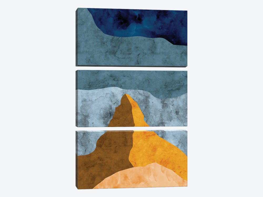 Mountain Against Waves of Blue by Van Credi 3-piece Canvas Art Print