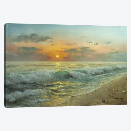 Beach Sun Canvas Print #VDR103} by Vishalandra Dakur Canvas Artwork