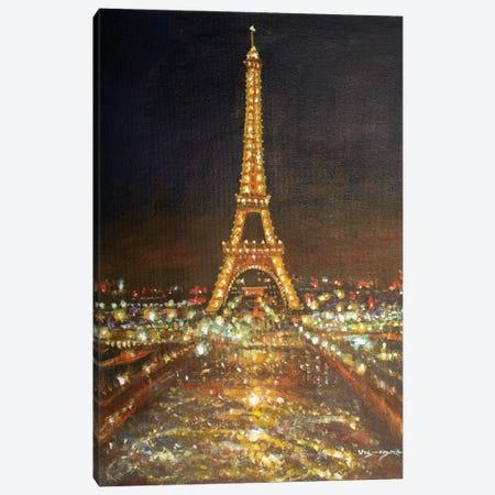 Golden Eiffel Canvas Print #VDR12} by Vishalandra Dakur Canvas Art Print
