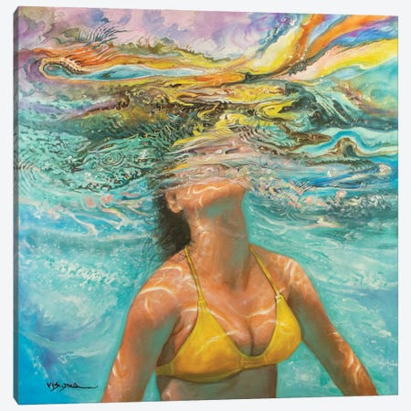Girl Swimming XII Canvas Print #VDR2} by Vishalandra Dakur Canvas Art Print