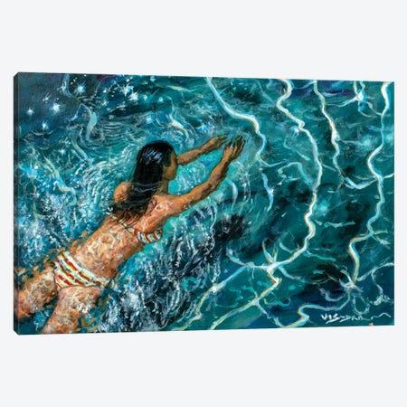 Girl Swimming XXI Canvas Print #VDR34} by Vishalandra Dakur Canvas Art
