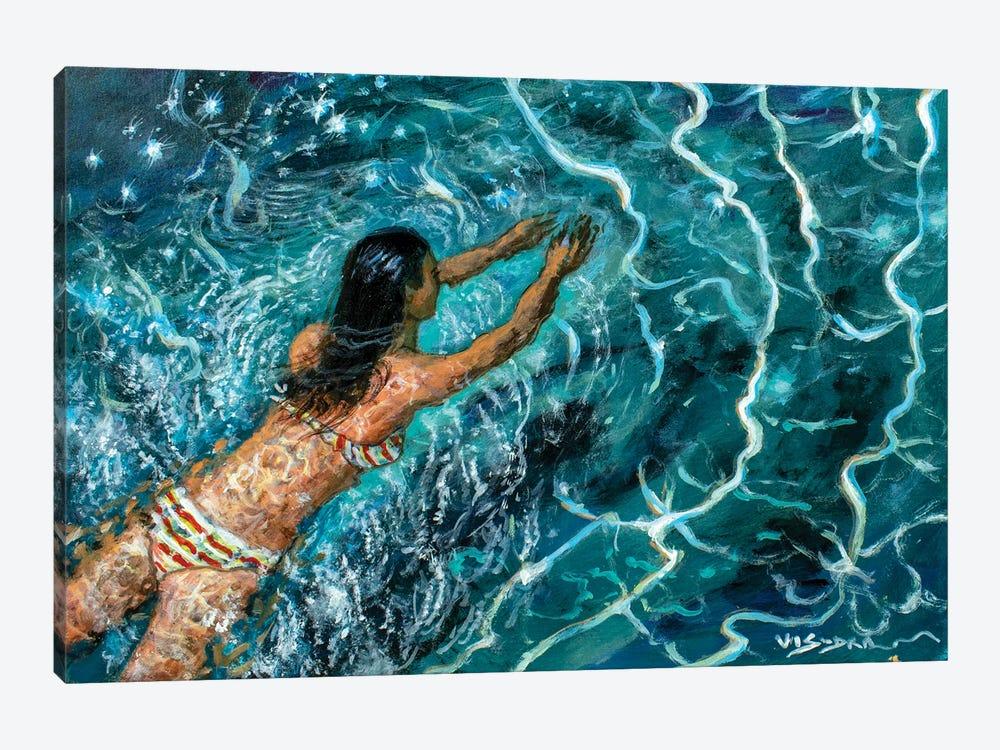 Girl Swimming XXI by Vishalandra Dakur 1-piece Canvas Wall Art