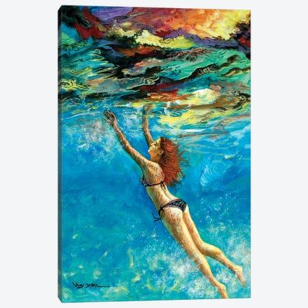 Girl Swimming XLII Canvas Print #VDR36} by Vishalandra Dakur Canvas Wall Art
