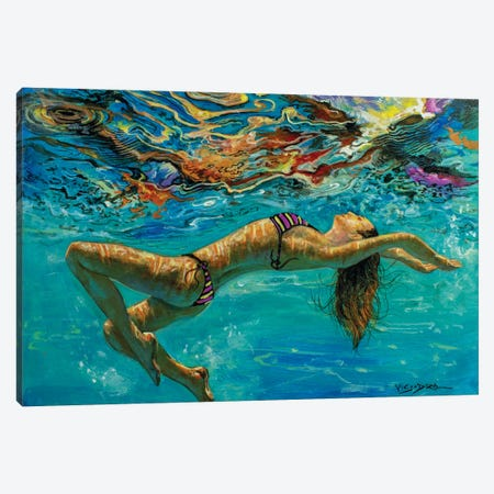 Girl Swimming XXVII Canvas Print #VDR38} by Vishalandra Dakur Art Print