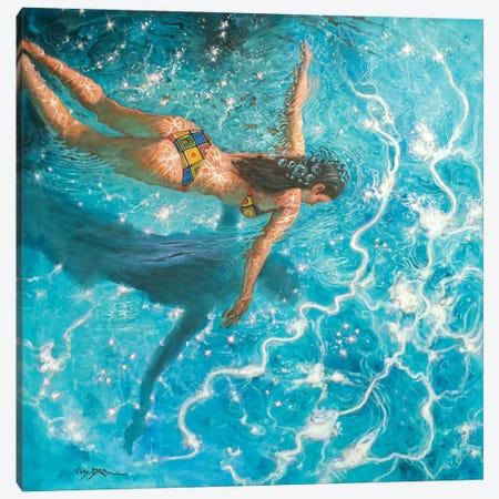 Girl Swimming XIV Canvas Print #VDR3} by Vishalandra Dakur Canvas Print