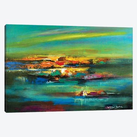 The Orange Lake Canvas Print #VDR44} by Vishalandra Dakur Art Print