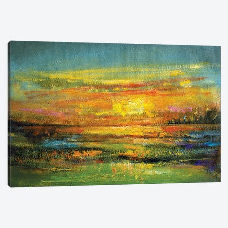 Golden Horizon Canvas Print #VDR45} by Vishalandra Dakur Canvas Art Print