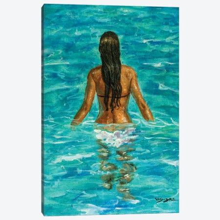 Girl In Pool IV Canvas Print #VDR6} by Vishalandra Dakur Canvas Wall Art