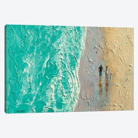 Couple Walking On Beach Canvas Print #VDR70} by Vishalandra Dakur Art Print