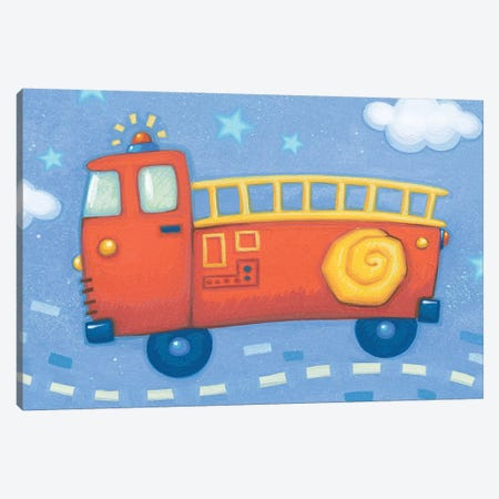 Blue Firetruck Canvas Print #VEI11} by Viv Eisner Canvas Print