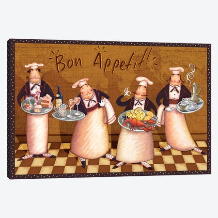 Chefs' Bon Appetit Canvas Print #VEI20} by Viv Eisner Canvas Wall Art