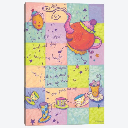 Rhyme I Teapot 3-Piece Canvas #VEI31} by Viv Eisner Canvas Print