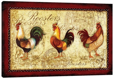 Rooster Trio Canvas Art Print