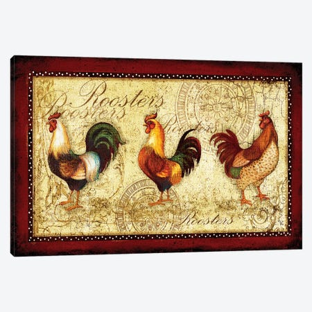 Rooster Trio Canvas Print #VEI38} by Viv Eisner Art Print