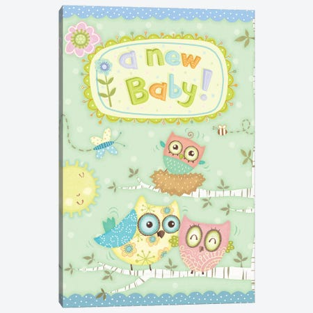 Baby Owl II 3-Piece Canvas #VEI64} by Viv Eisner Art Print