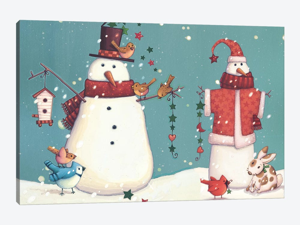 Folk Snowman Collection A by Viv Eisner 1-piece Canvas Art