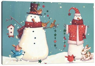 Folk Snowman Collection A Canvas Art Print