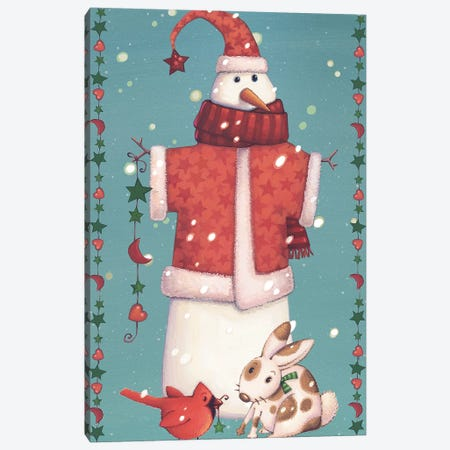 Folk Snowman Collection B Canvas Print #VEI82} by Viv Eisner Canvas Artwork