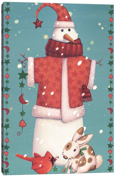 Folk Snowman Collection B Canvas Art Print