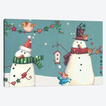 Folk Snowman Collection D Canvas Print #VEI83} by Viv Eisner Canvas Art