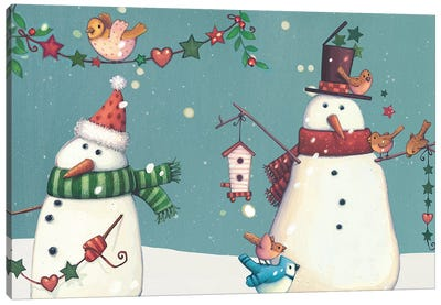 Folk Snowman Collection D Canvas Art Print