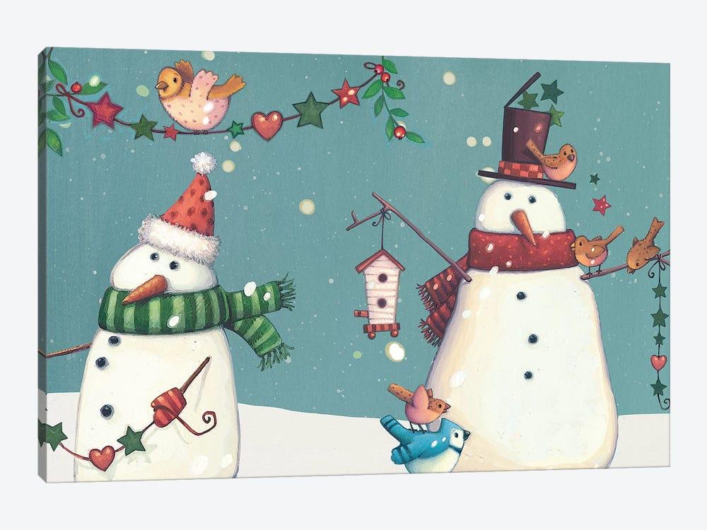 Folk Snowman Collection D by Viv Eisner 1-piece Canvas Wall Art