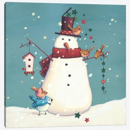 Folk Snowman I Canvas Print #VEI84} by Viv Eisner Canvas Print