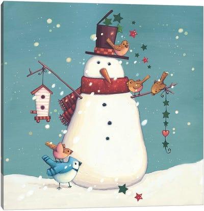 Folk Snowman I Canvas Art Print