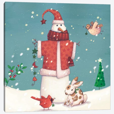 Folk Snowman II Canvas Print #VEI85} by Viv Eisner Art Print