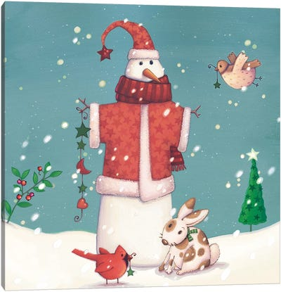 Folk Snowman II Canvas Art Print