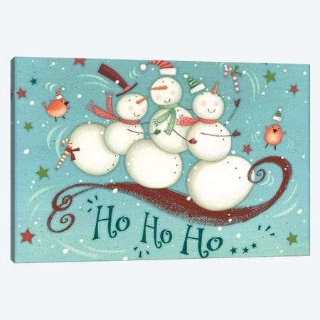Sledding Snowmen Collection A Canvas Print #VEI93} by Viv Eisner Art Print