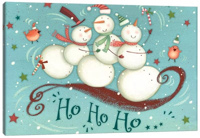 Sledding Snowmen Collection A Canvas Art Print