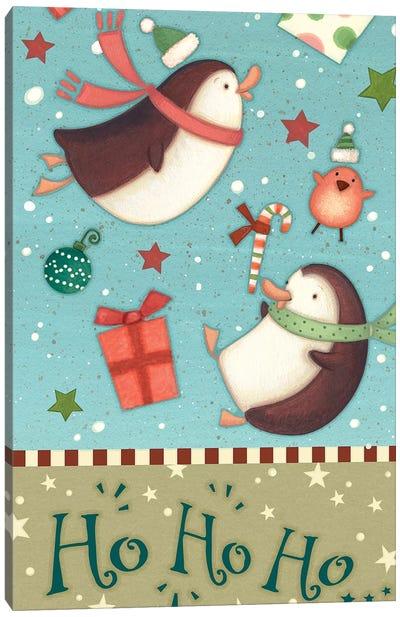 Sledding Snowmen Collection B Canvas Art Print
