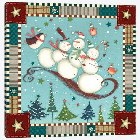 Sledding Snowmen I Canvas Print #VEI96} by Viv Eisner Canvas Artwork