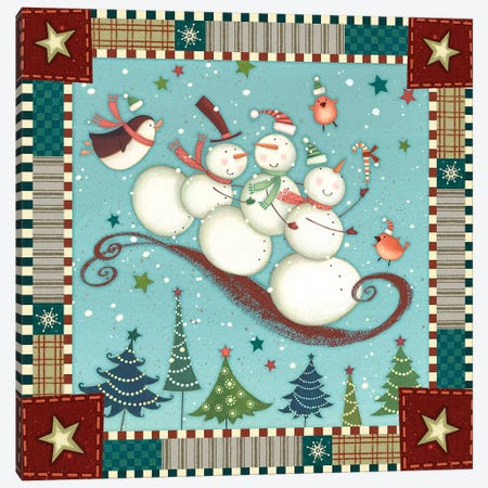 Sledding Snowmen I Canvas Print #VEI96} by Viv Eisner Canvas Artwork