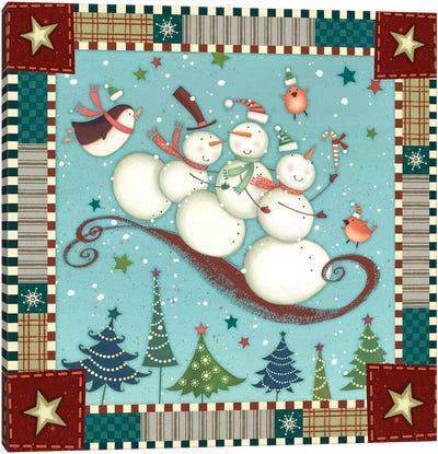 Sledding Snowmen I Canvas Art Print