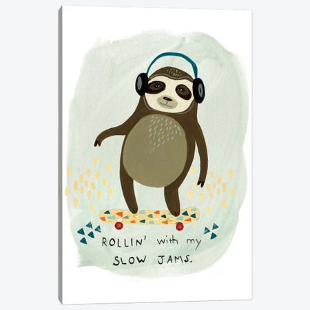 Hipster Sloth II Canvas Print #VES103} by June Erica Vess Canvas Art Print