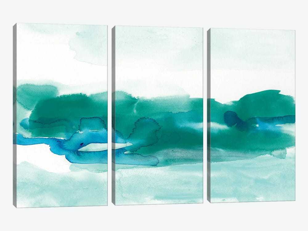 Teal Coast I by June Erica Vess 3-piece Canvas Art Print